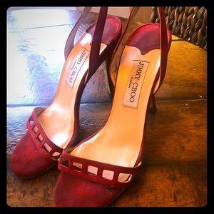 Jimmy Choo red heeled sandals